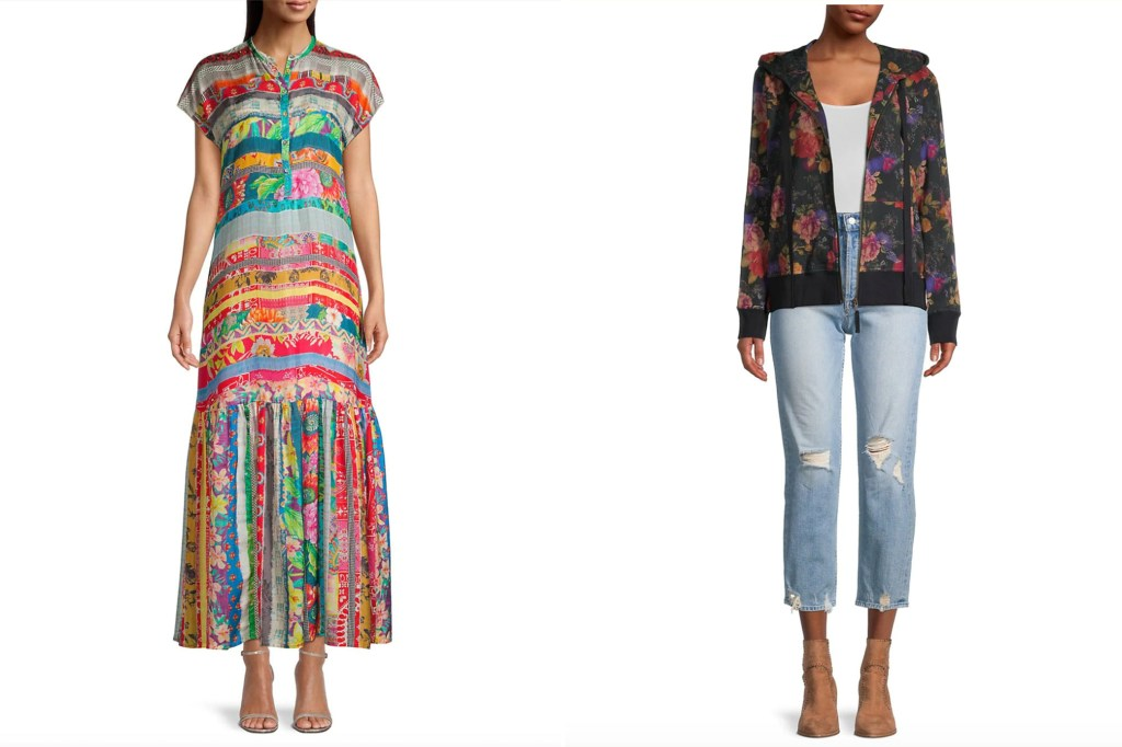 A side by side image of two models, one in a patterned dress and one in a patterned hoodie over a white top and blue jeans