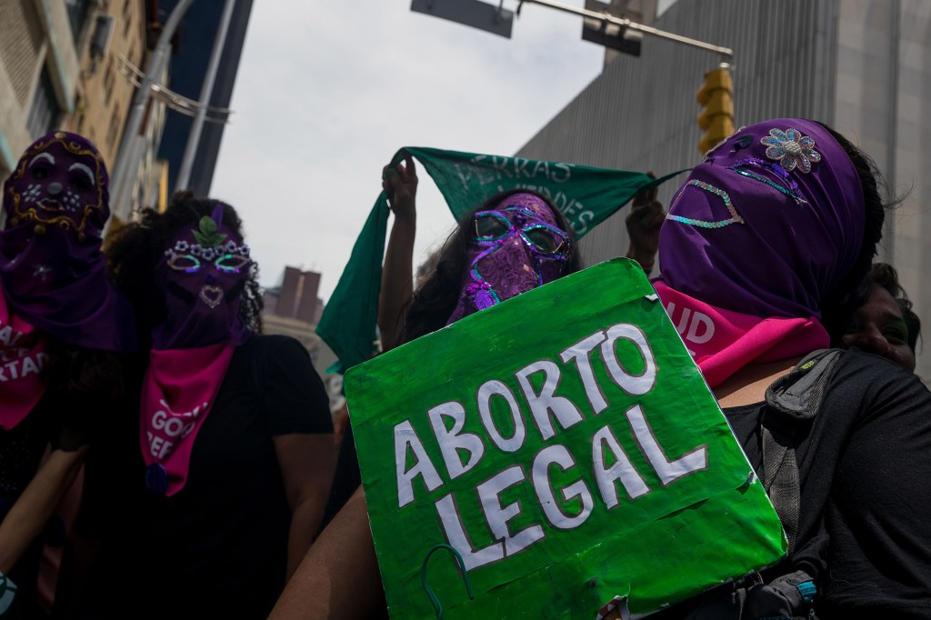 Several women participate in a demonstration to demand legal abortion, within the framework of the Global Day of Action for Legal and Safe Abortion, in Caracas, Venezuela, 28 September 2021.