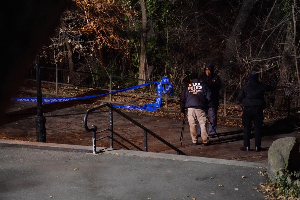 NYPD officers work the scene where 18-year-old Tessa Majors was stabbed and robbed by four suspects on December 11, 2019.