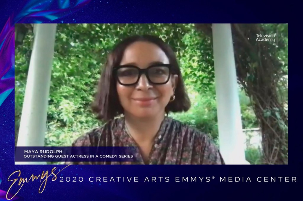 """Rudolph accepted the 2020 Emmy for Outstanding Guest Actress In A Comedy Series for """"Saturday Night Live"""" via Zoom."""
