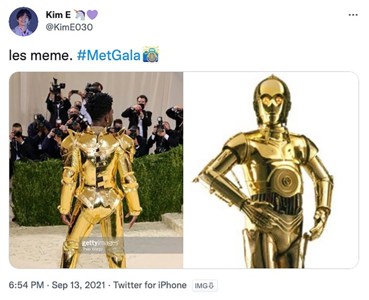 Lil Nas X engages in some inadvertent C3P0 cosplay at the Met Gala 2021.