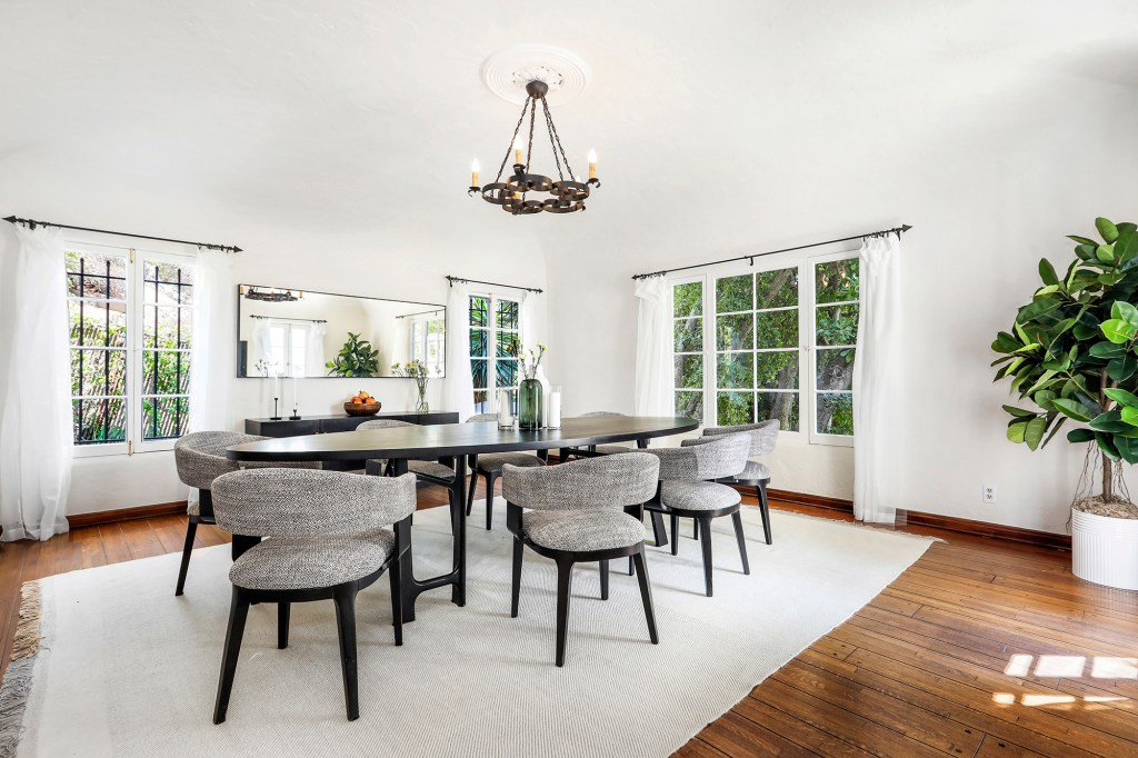 The dining room has large windows.