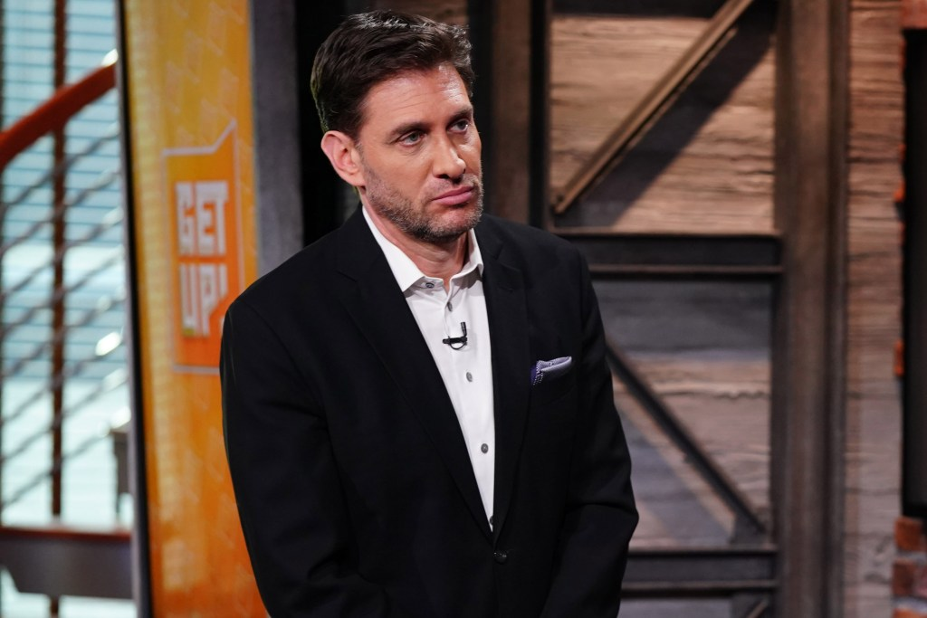 """Mike Greenberg on the set of ESPN's """"Get Up!"""""""