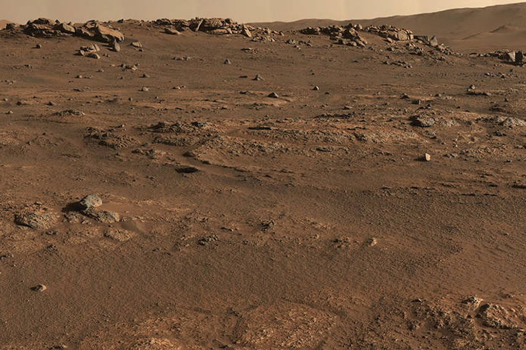 Perseverance Mars rover used its Mastcam-Z camera system to create this enhanced-color panorama, which scientists used to look for rock-sampling sites. The panorama is stitched together from 70 individual images taken on July 28, 2021.