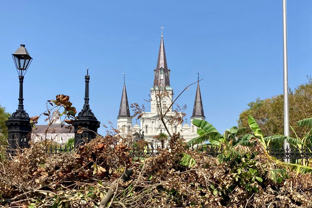 A pile of debris from Hurricane Ida blocks the view of Jackson Square in the heart of the French Quarter in New Orleans on Thursday, Sept. 2, 2021.