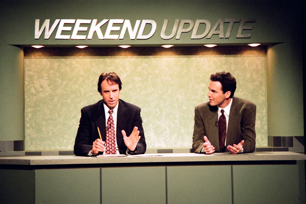 Kevin Nealon and Norm MacDonald during weekend update.