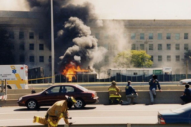 The first responders to appear on the scene after the September 11, 2001, attack on the Pentagon in Arlington, Virginia.