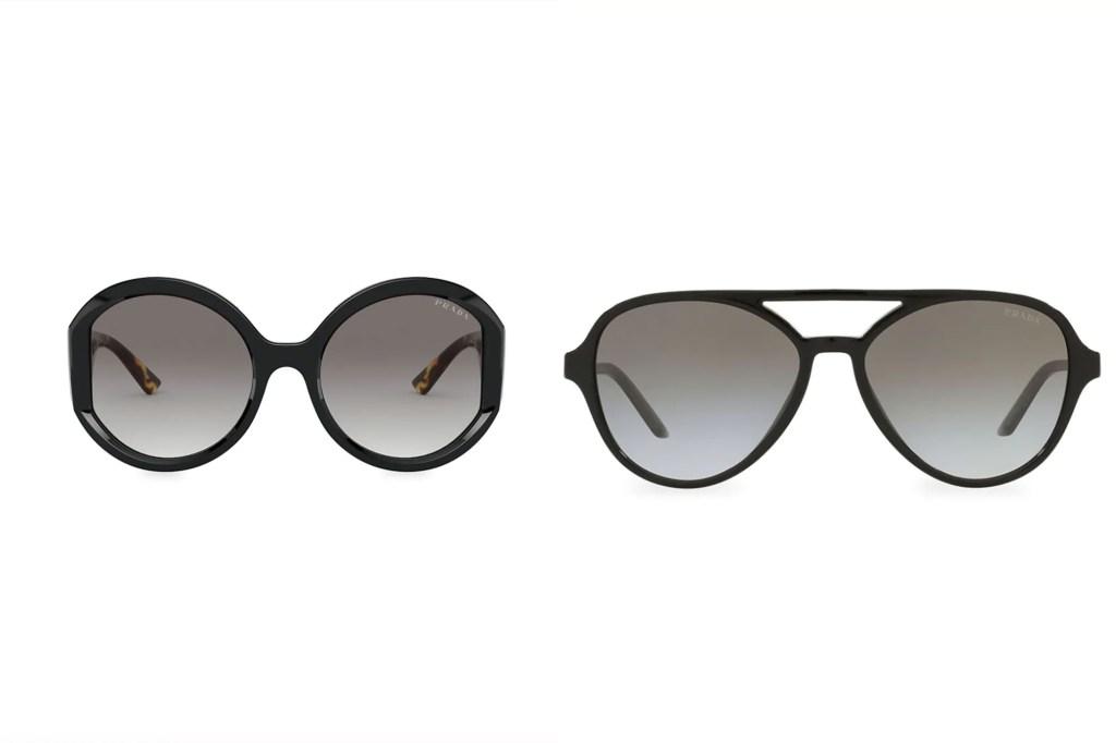 Two pairs of black Prada sunglasses