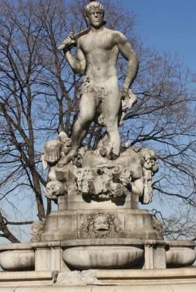 """The """"Triumph of Civic Virtue"""" statue that was removed from Queens Borough Hall to create the plaza."""