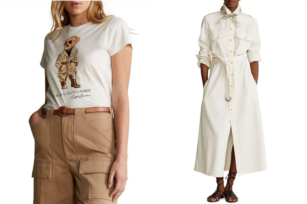 A split image of two models, one wearing a Ralph Lauren tee shirt with a bear and one in a long white dress