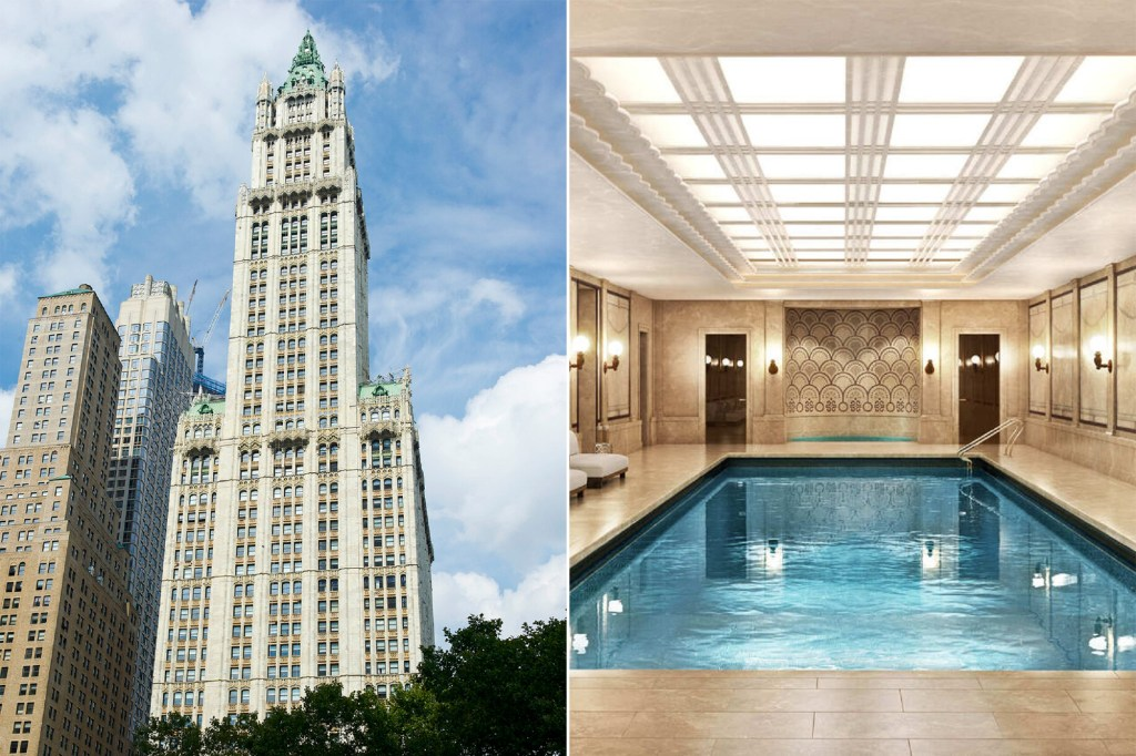 A side by side of the Woolworth Building and its penthouse's pool.