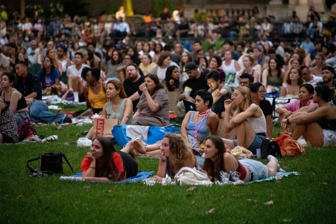 People sit on The Lawn at the 27th Annual Bryant Park Movie Nights on August 24, 2021