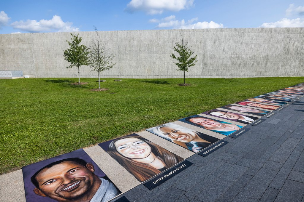 Paintings of passengers of Flight 93 line the entrance to the Flight 93 National Memorial in Shanksville.