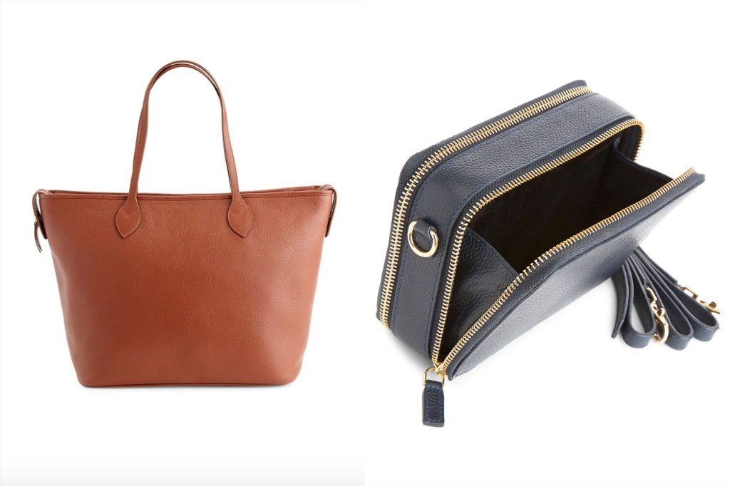 A brown large tote handbag and a navy blue smaller bag open to show the inside