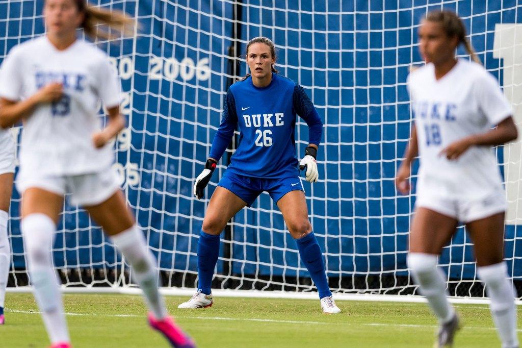 Ruthie Jones tending the net for Duke.