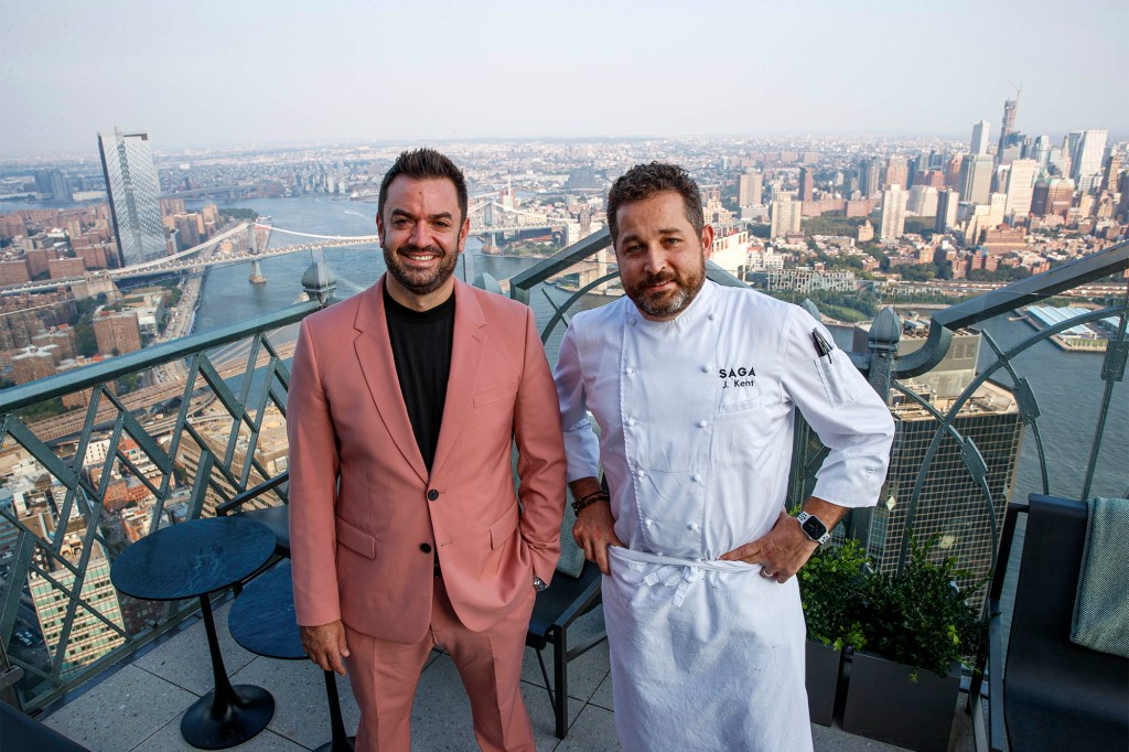 Jeff Katz (left) and chef James Kent have just opened the fine-dining restaurant Saga atop 70 Pine Street.