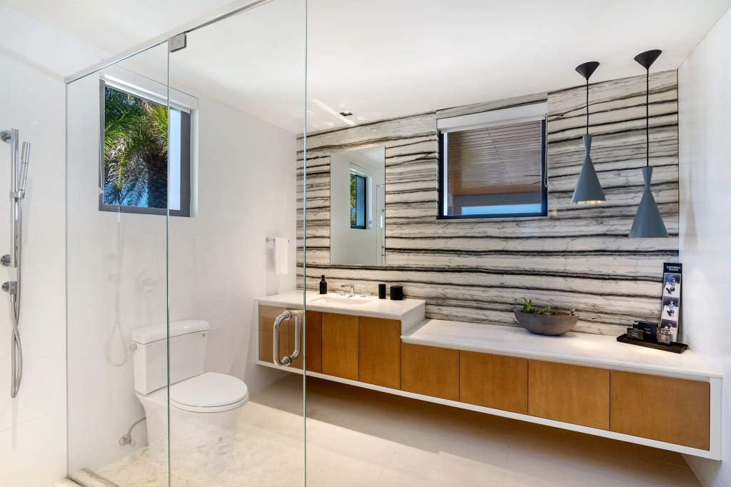 A bathroom inside the North Miami home.