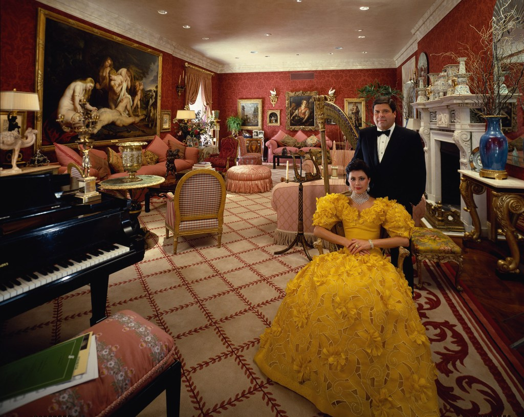 Saul Steinberg and his third wife Gayfryd in a sitting room of their 34-room apartment on Park Avenue, New York, June 13, 1985.