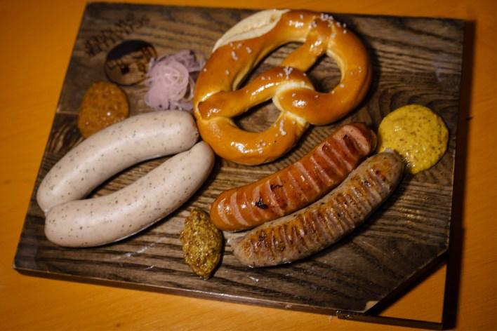 A sausage platter from Schaller & Weber.