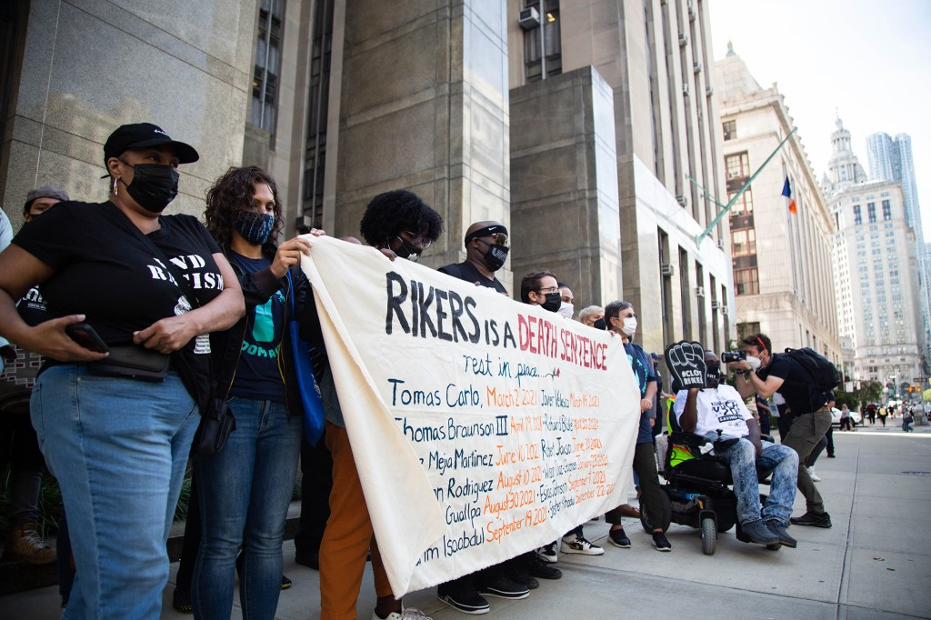 Activists gathered at the Manhattan Courthouse on September 27, 2021 to denounce the conditions at Rikers Island.
