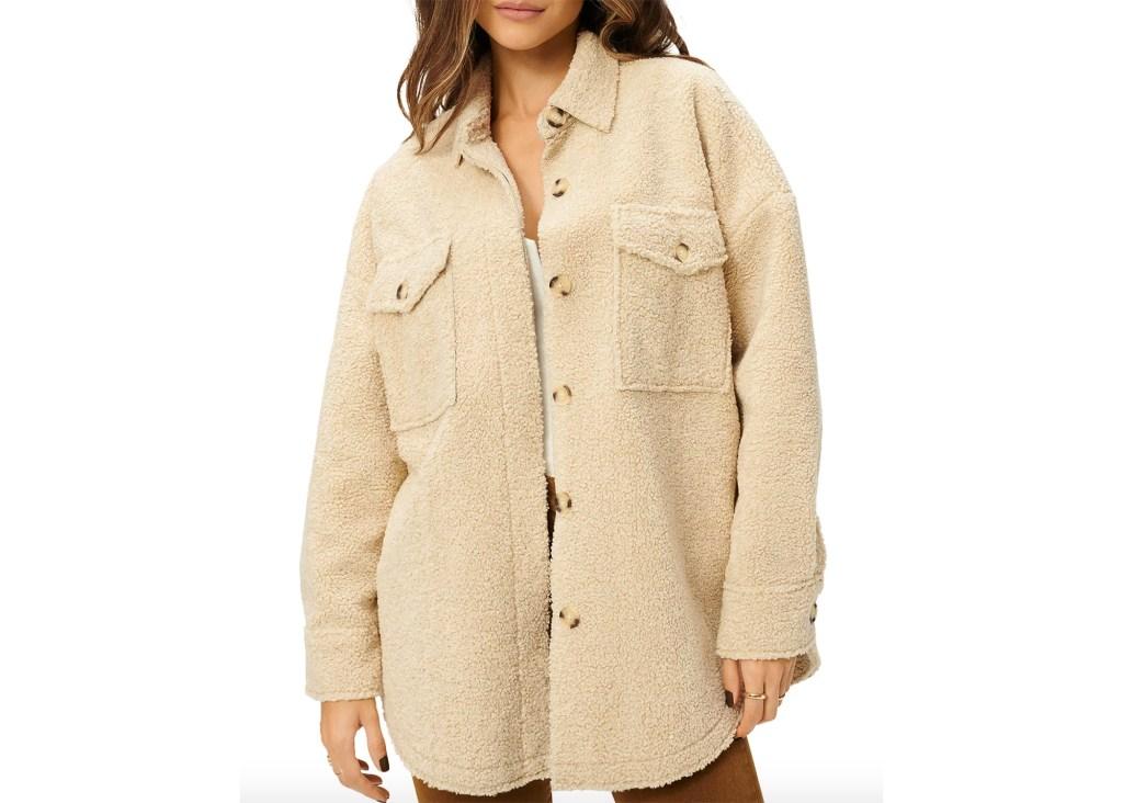Good American Sherpa Shirt Jacket