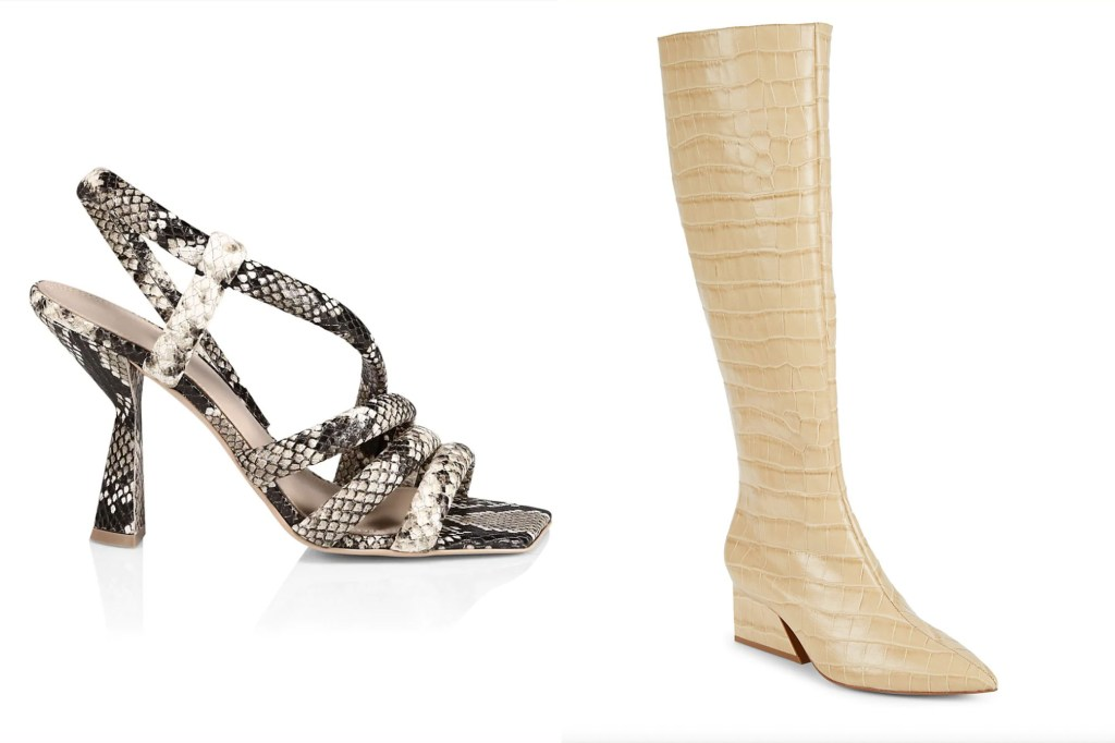 A side by side image with one snakeskin heel shoe and one crocodile material white boot