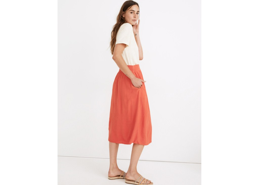 Smocked-Waist Button-Front Midi Skirt