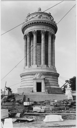 Monument under construction Riverside Drive at 89th Street, New York, New York, early 1900s.