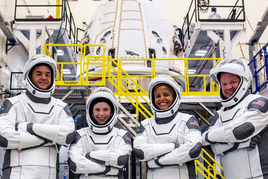 The Inspiration4 crew of Chris Sembroski, Sian Proctor, Jared Isaacman and Hayley Arceneaux poses while suited up.