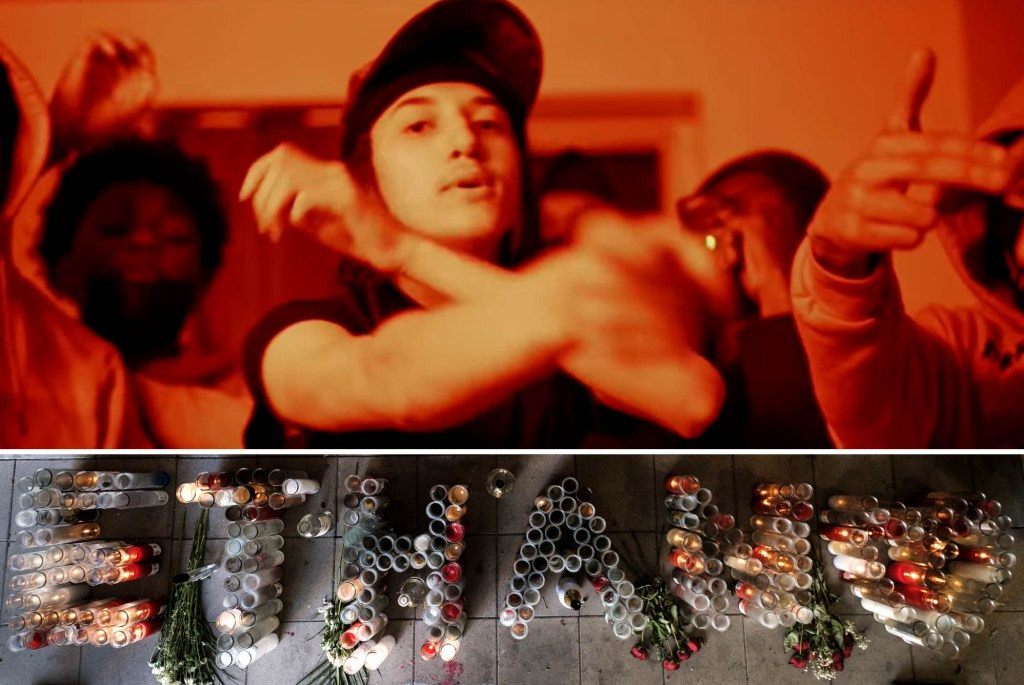 Ethan Borges 17, aka Ethan Staxks from his youtube video, topshotta. below: memorial outside his  home.