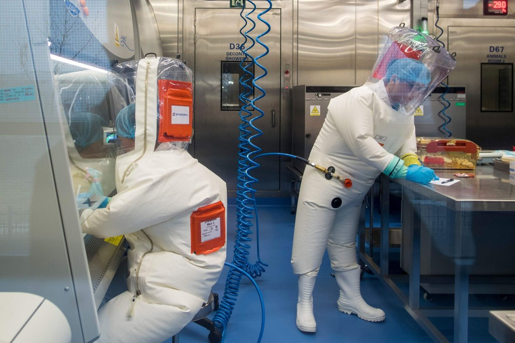 People work at the Wuhan Institute of Virology.
