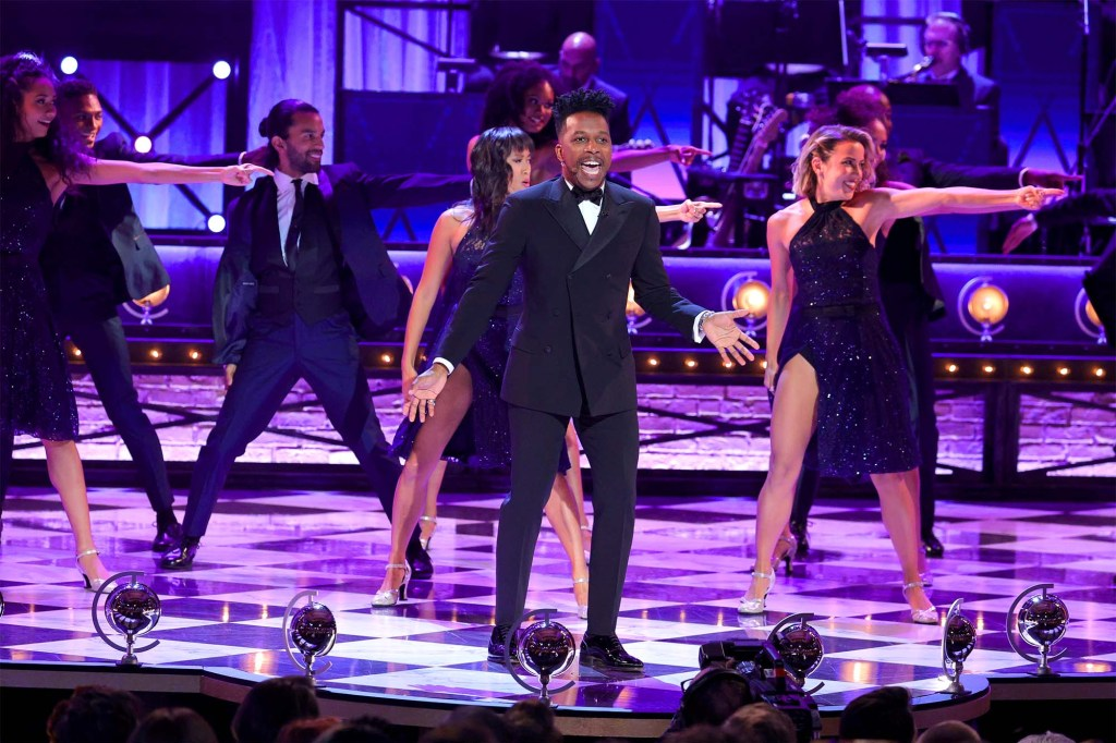 Leslie Odom, Jr. performs onstage during the 74th Annual Tony Awards.