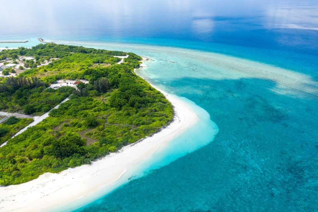 An aerial shot of the Maldives.