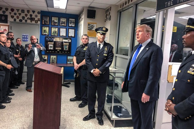 Former President Donald Trump visited the NYPD's 17th Precinct on Sept. 11, 2021.