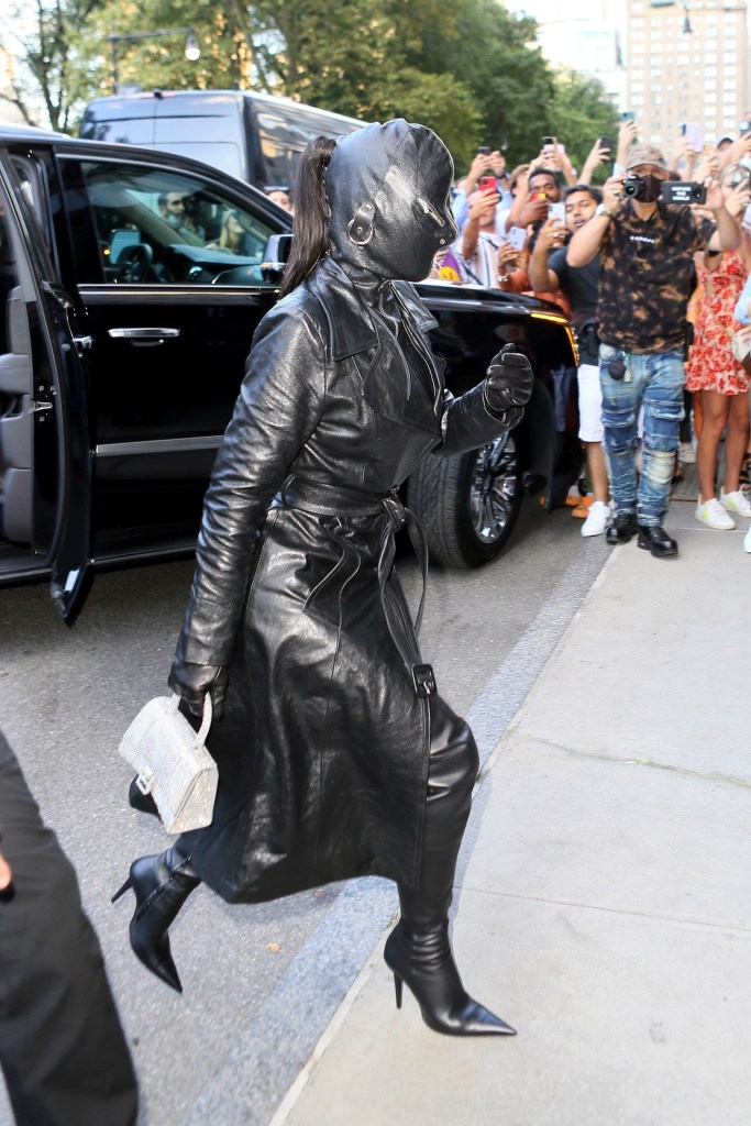Kim Kardashian dressed in leather.