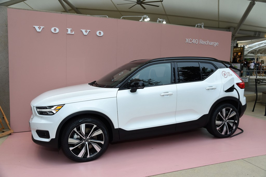 A Volvo car on display