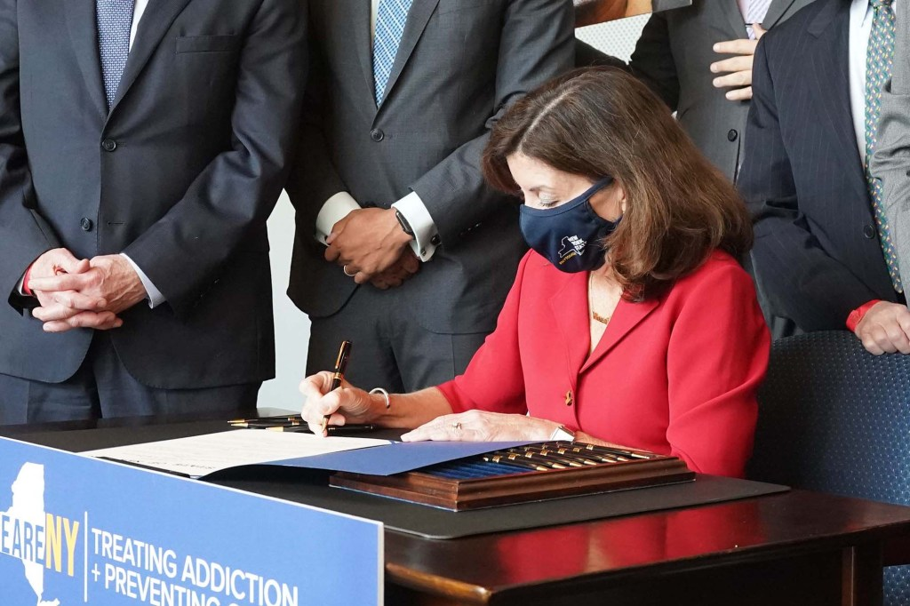 NYS Gov Hochul signing a package of bills to fight the Opiod Crisis, at John Jay College, 860 11th ave., mhtn.