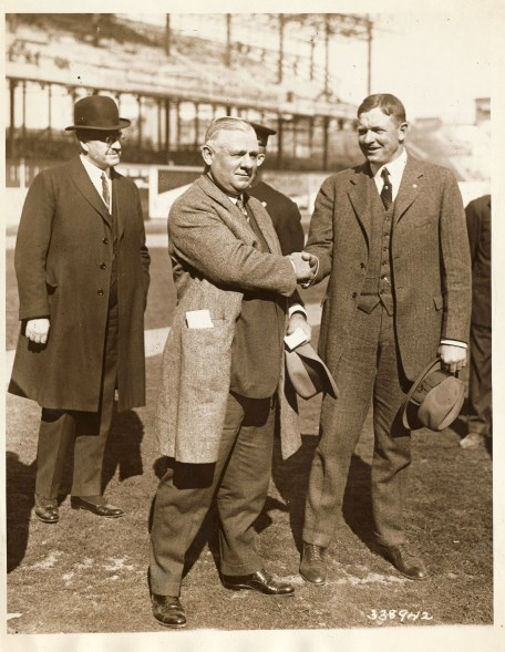 Left to right: Mayor John F. Hylan; John McGraw, manager of the Giants; and Christy Mathewson, president of the Boston Braves, just before the game this afternoon at the Polo Grounds, where the 1923 National League championship season got under way.