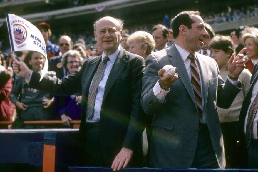 Mayor Ed Koch (left) and the Gov. Mario Cuomo (right) before a 1986 world series between the Boston Red Sox and New York Mets in 1986 at Shea Stadium.
