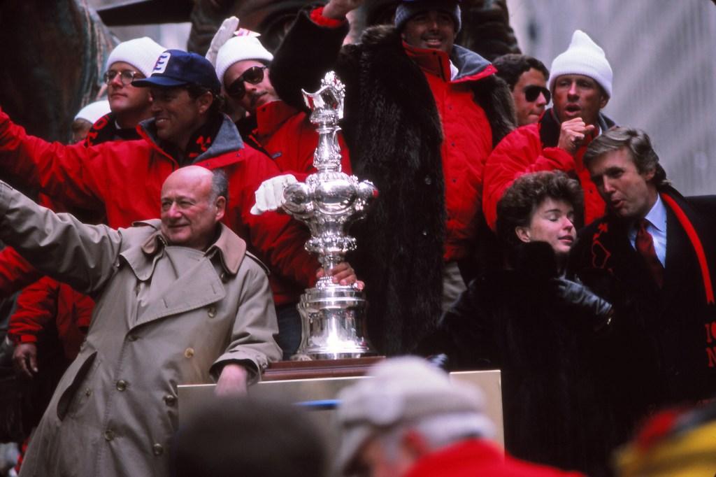New York City Mayor Ed Koch with 1987 Superbowl winners NY Giants - Parade in NY