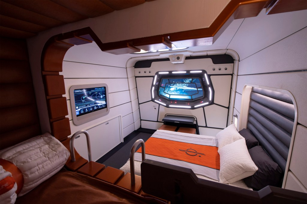 A mock-up cabin for Star Wars: Galactic Starcruiser.