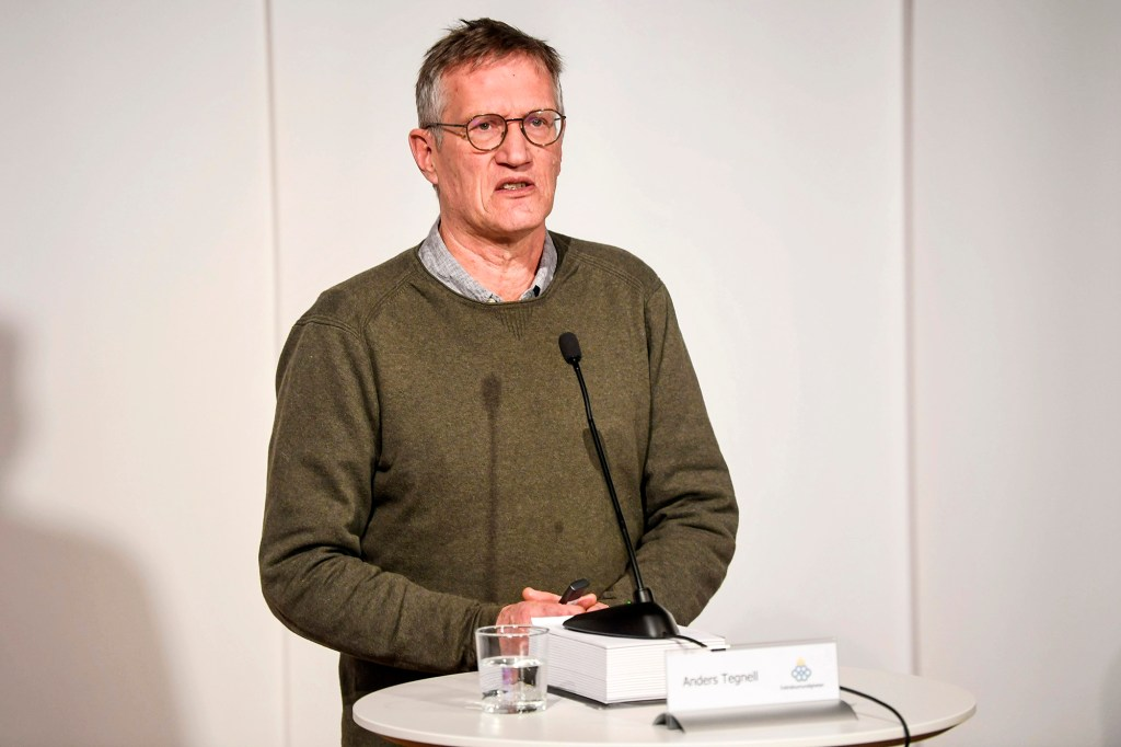 Sweden's state epidemiologist Anders Tegnell of the Public Health Agency takes part in a digital news conference updating on the coronavirus pandemic situation, in Stockholm, Sweden, on Thursday March 11, 2021.