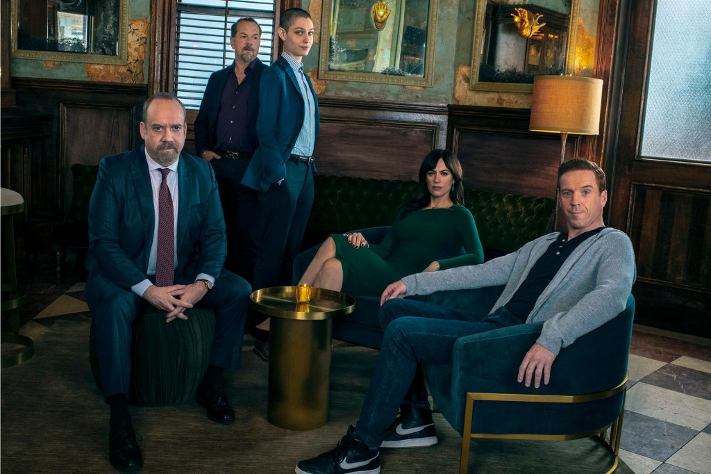 """Paul Giamatti as Chuck Rhoades, David Costabile as Mike """"Wags"""" Wagner, Asia Kate Dillon as Taylor, Maggie Siff as Wendy Rhoades and Damian Lewis as Bobby """"Axe"""" Axelrod in """"Billions."""""""