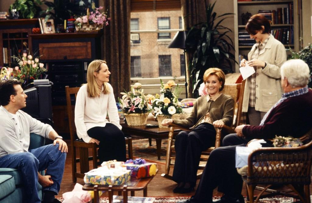 "Paul Reiser as Paul Buchman, Helen Hunt as Jamie Stemple Buchman and Cynthia Harris as Sylvia Buchman in ""Mad About You."""