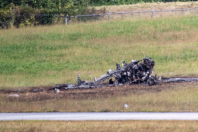 Emergency Response Teams at the site of a fatal plane crash on October 8, 2021 at De Calab-Peachtree Airport in Declub County, Georgia.