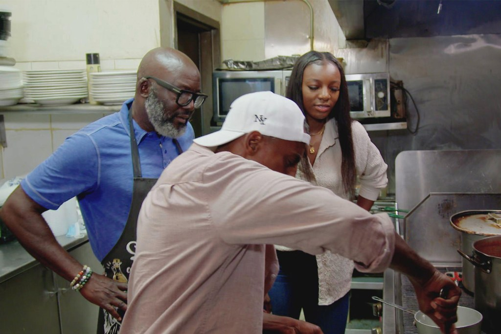 Samuelsson and Onyenwere work up Nigerian delights with Buka owner Lookman Afolayan.