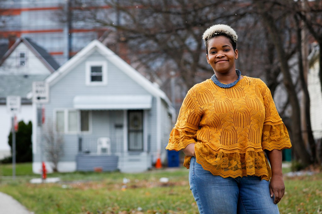 Community activist India Walton poses as she campaigns to replace four-term Mayor Byron Brown, in Buffalo, New York, U.S., December 15, 2020.