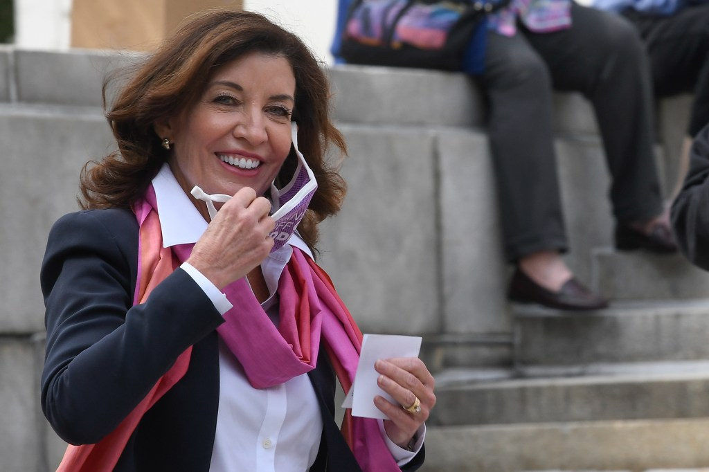 New York Gov. Kathy Hochul arrives to speak during a Women's March and Rally for Reproductive Rights at the state Capitol Saturday, Oct. 2, 2021, in Albany, N.Y.