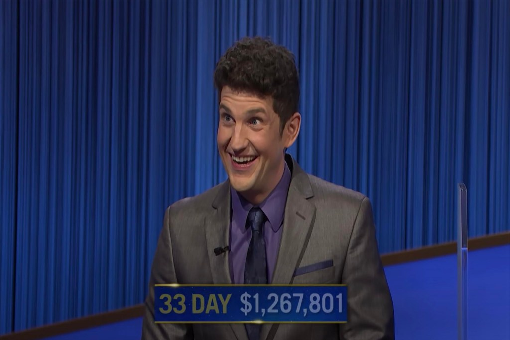 """Matt Amodio overtook James Holzhauer for the second-longest winning streak in """"Jeopardy!"""" history following his 33rd consecutive win."""