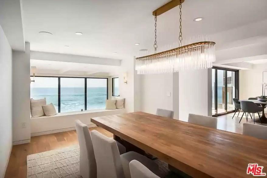 The dining room has ocean views.